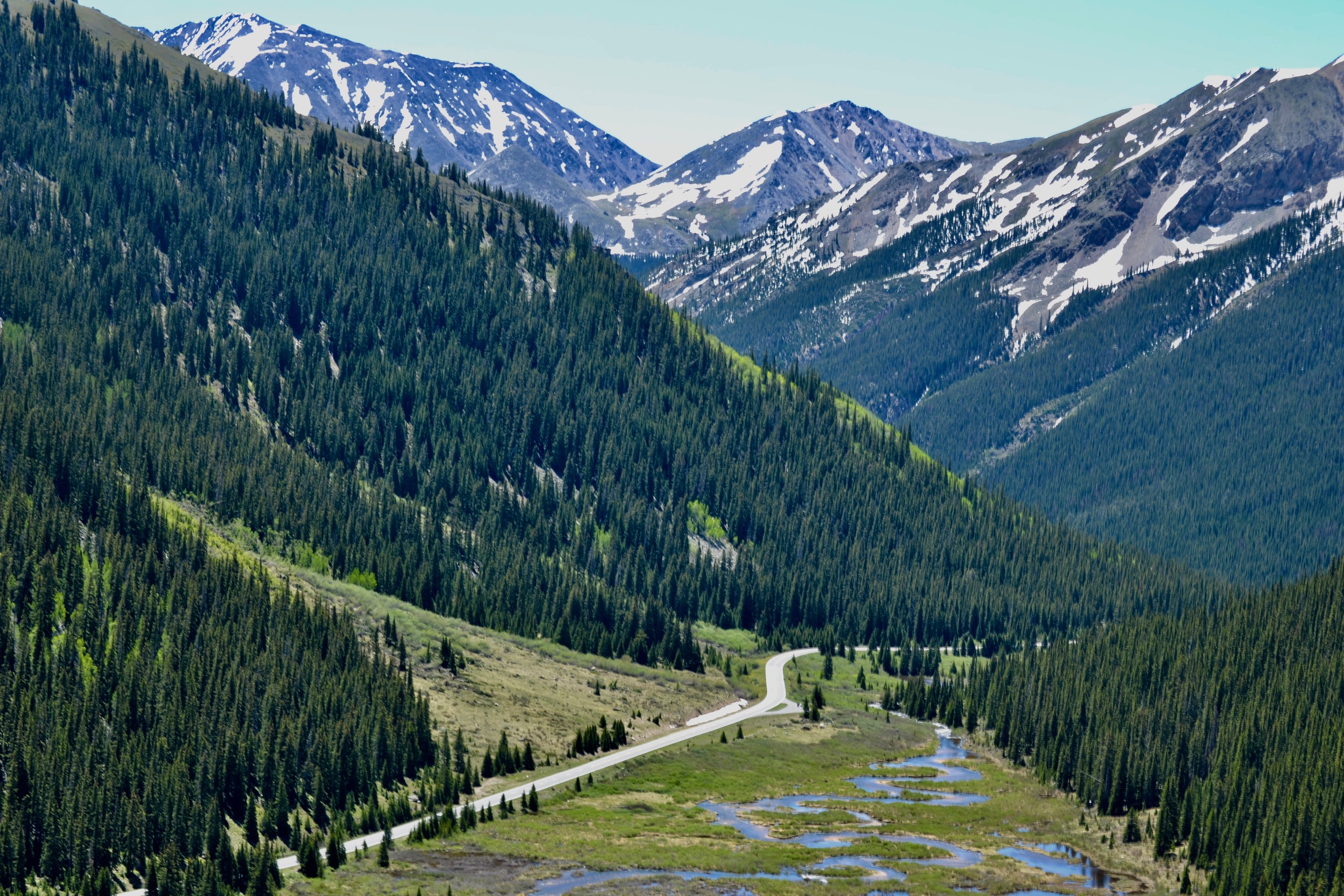Driving over Independence Pass into Aspen, Colorado.