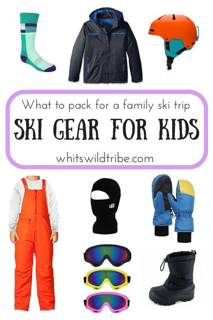 What to pack for a family ski trip. All the ski gear you need for your kiddos. From gloves, jackets, bibs, to beanies, helmets and goggles. All cold weather gear to get your kids out on the ski slopes.